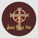 Jesus Hates War Classic Round Sticker