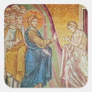 Jesus healing a leper square sticker