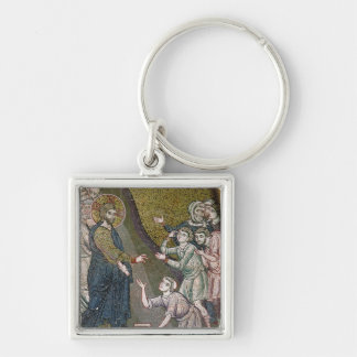 Jesus Healing the Crippled and the Blind Silver-Colored Square Key Ring