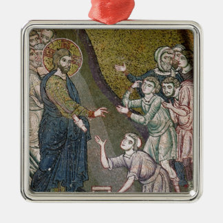 Jesus Healing the Crippled and the Blind Silver-Colored Square Decoration