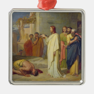 Jesus Healing the Leper, 1864 Silver-Colored Square Decoration