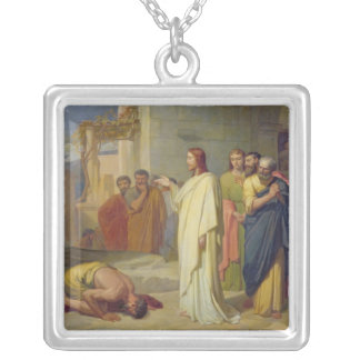 Jesus Healing the Leper, 1864 Silver Plated Necklace