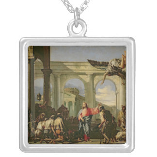 Jesus Healing the Paralytic at the Pool Silver Plated Necklace
