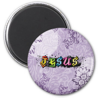 Jesus hiphop red solid by christianstores 6 cm round magnet