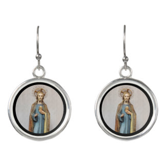 Jesus Holding Golden  Sacred Heart Earrings