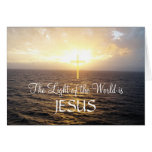 Jesus Holy Cross Ocean Sunset Greeting Card