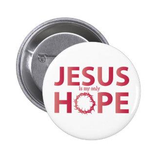 jesus hope salmon gradient 6 cm round badge