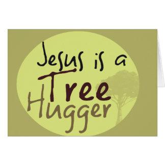 Jesus Hugs trees Cards