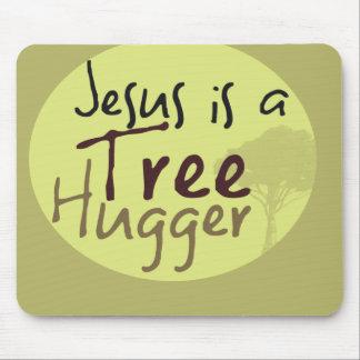 Jesus Hugs trees Mouse Pads
