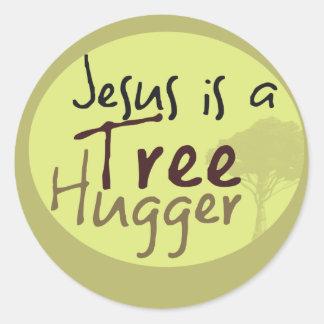 Jesus Hugs trees Round Sticker