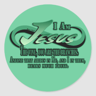 Jesus I Am The Vine Round Sticker