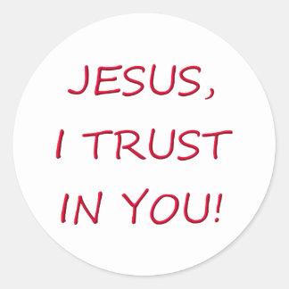 Jesus I trust in you Round Sticker