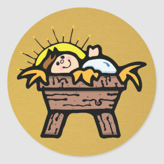 jesus in manger round sticker