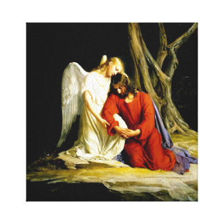 Jesus in the garden of Gethsemane Stretched Canvas Print