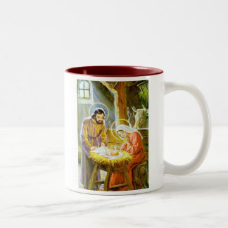 Jesus In The Manger Christmas Nativity Two-Tone Mug
