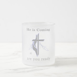 Jesus is coming frosted glass mug