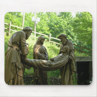Jesus is laid in the tomb - 14th station mouse mats