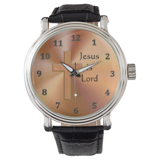 Jesus is Lord Cross Watches for Men Personalised