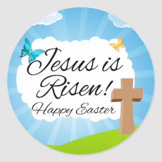 Resurrection of jesus stickers zazzle jesus is risen christian easter classic round sticker negle Image collections