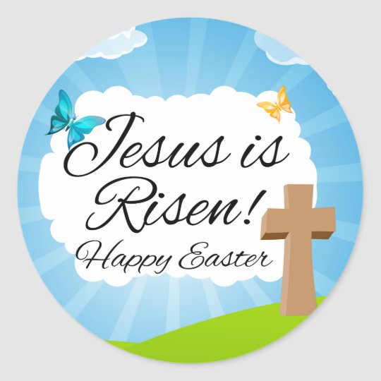 Jesus is Risen, Christian Easter Classic Round Sticker