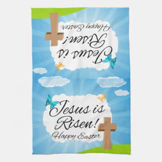 Jesus is Risen, Christian Easter Tea Towel