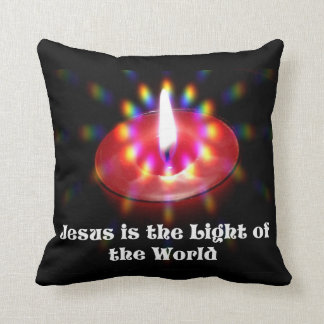 Jesus Is The Light Of The World Red Candle Cushion