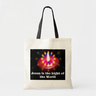 Jesus Is The Light Of The World Red Candle Tote Bag