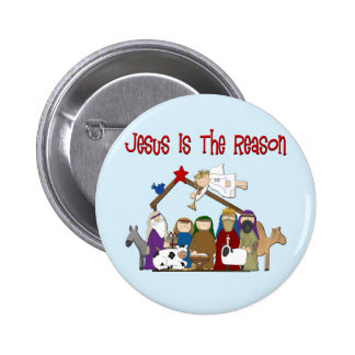 Jesus Is the Reason Manger Scene 6 Cm Round Badge