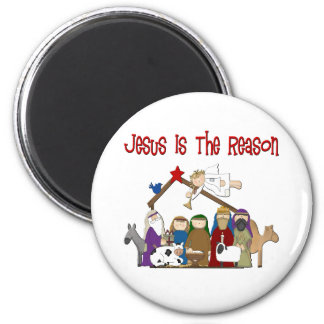 Jesus Is the Reason Manger Scene 6 Cm Round Magnet