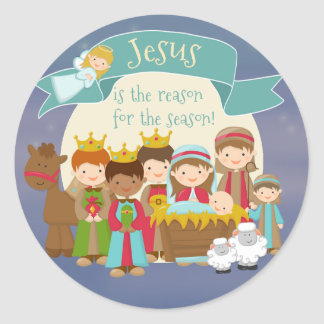 """Jesus is the Reason"" Nativity Christmas Sticker"