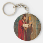 Jesus Knocks On The Door Basic Round Button Key Ring