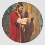 Jesus Knocks On The Door Round Sticker