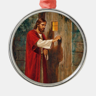 Jesus knocks On The Door Silver-Colored Round Decoration