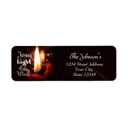 Jesus Light of the World, Christmas Candle Return Address Label