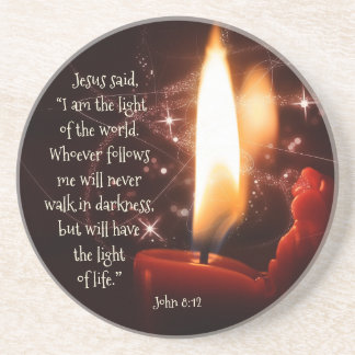 Jesus Light of the World Psalm 8, Bible, Christmas Drink Coaster