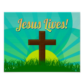 Christian easter posters prints zazzle jesus lives bluebrown christian easter cross poster negle Image collections