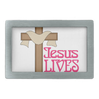 Jesus Lives Rectangular Belt Buckles