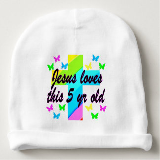 JESUS LOVE THIS 5 YEAR OLD CHRISTIAN 5TH BIRTHDAY BABY BEANIE