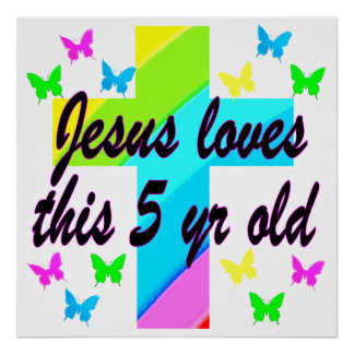 JESUS LOVE THIS 5 YEAR OLD CHRISTIAN 5TH BIRTHDAY POSTER