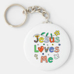 Jesus Loves Me Basic Round Button Key Ring