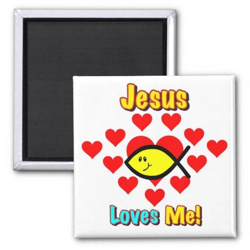 """""""Jesus Loves Me"""" Christian Fish Magnet Fridge Magnets"""