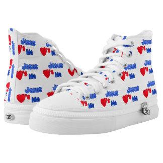 Jesus Loves Me Christian Hi-Top Printed Shoes
