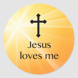 Jesus Loves Me Cross Orange Sticker