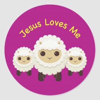 Jesus Loves Me Cross shepherd sheep Sticker
