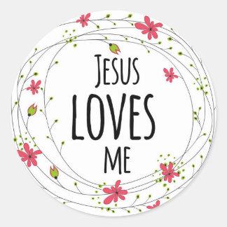 Jesus Loves Me Cross Wreath Floral White Sticker