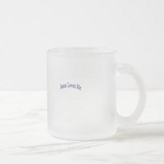 Jesus loves me frosted glass mug