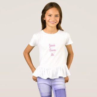 Jesus Loves Me Girls' Ruffle T-Shirt