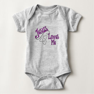 Jesus Loves Me Grey with Hearts Baby Bodysuit