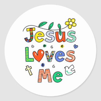 Jesus Loves Me Round Sticker