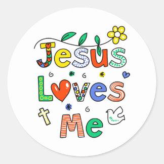 Jesus Loves Me Round Stickers